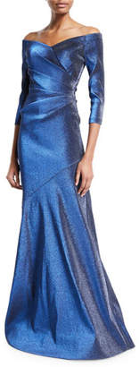 Theia Off-the-Shoulder 3/4-Sleeve Metallic Mermaid Gown