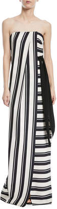 Halston Strapless Striped Gown w/ Tie Waist