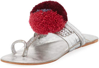 Figue Leo Metallic Toe-Ring Pompom Sandal