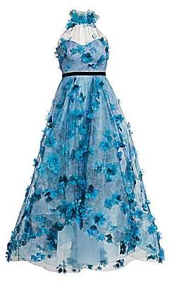 Marchesa Women's Floral-Embroidered High-Low Halter Gown