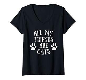 Womens All My Friends Are Cats V-Neck T-Shirt