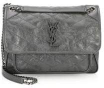 Saint Laurent Medium Niki Crinkle Leather Nickel Hardware Flap Bag