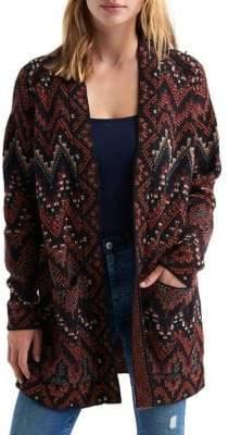 Lucky Brand Long Ikat Wool Cardigan