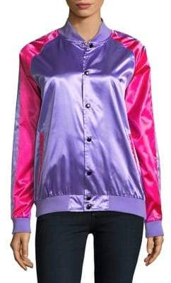 Bow & Drape Sequined Button-Front Varsity Jacket