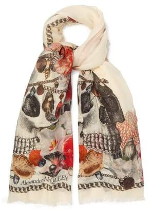 Alexander McQueen Skull And Sea Shell Print Scarf - Womens - Ivory