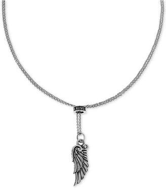 """King Baby Studio Unisex Wing 26"""" Adjustable Lariat Necklace in Sterling Silver"""