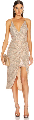 Jonathan Simkhai Speckled Sequin Wrap Dress in Gold | FWRD