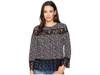 ECI 3/4 Sleeve Printed Top with Lace Bottom Women's Clothing