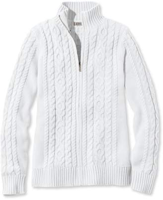 L.L. Bean L.L.Bean Double L Mixed-Cable Sweater, Zip-Front Cardigan