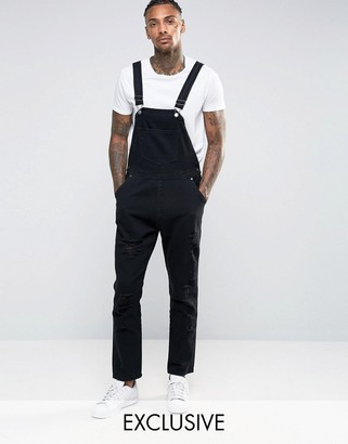 Liquor & Poker Overalls Straight Fit Extreme Rips Black $68 thestylecure.com