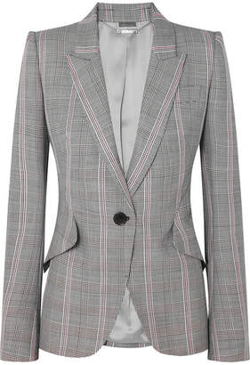 Alexander McQueen Prince Of Wales Checked Wool Blazer - Gray