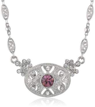"""Downton Abbey """"Boxed"""" Silver-Tone Light Amethyst Crystal Pendant Necklace"""