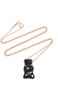 Lauren X Khoo Rhodium-Plated 18K Gold Onyx and Diamond Necklace