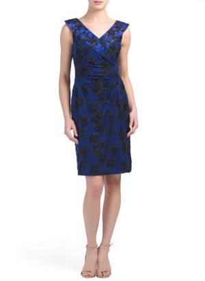 Flocked Velvet Side Ruched Dress