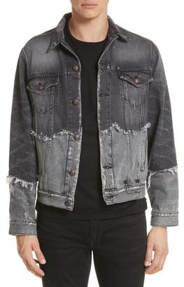 R 13 Shredded Two-Tone Denim Jacket