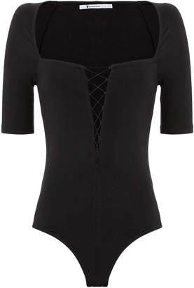 Alexander Wang Lace-Up Square Neck Bodysuit