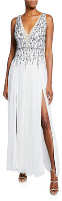 Aidan Mattox Beaded Mesh Plunge V-Neck Sleeveless Gown