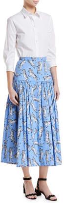 Carolina Herrera Zebra-Print Button-Front Cotton Poplin Peasant Skirt