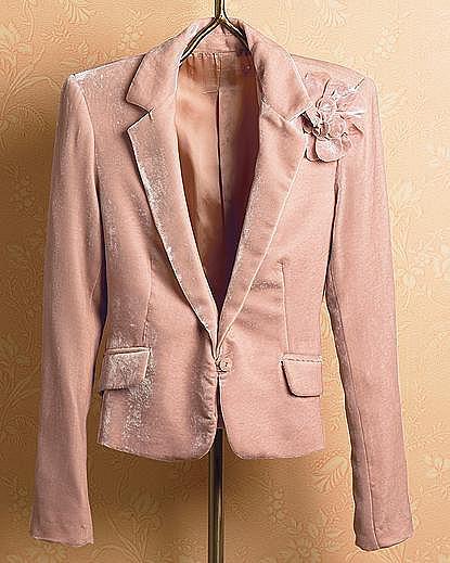 Corsage-Pin Velvet Jacket