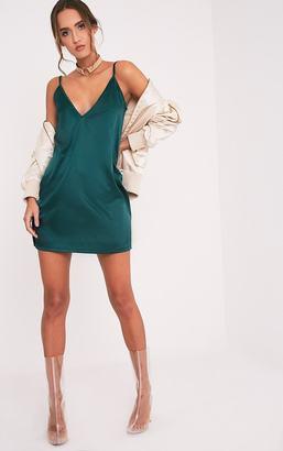 PrettyLittleThing Erin Emerald Green Plunge Satin Slip Dress