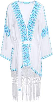 Melissa Odabash Fringed Embroidered Woven Coverup