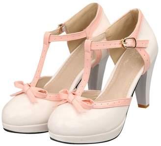 Susanny Fashion Ankle T Strap Bows Women's High Heel Platform Wedding Leather Pumps Shoes 9 B (M) US