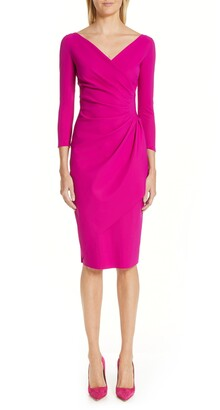 Chiara Boni Charisse Ruched Long Sleeve Cocktail Dress