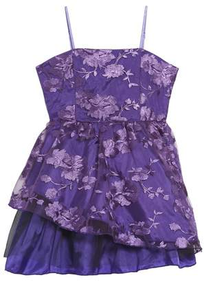 Un Deux Trois Floral Mesh Sleeveless Dress (Big Girls)