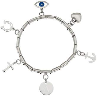 Steel By Design Stainless Steel Initial & Charm Stretch Bracelet