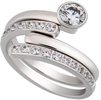 93a1aeba7 Swarovski Te Ilana Rhodium Plated Bezel Set Crystal & Pave Double Band Ring  - Size 7