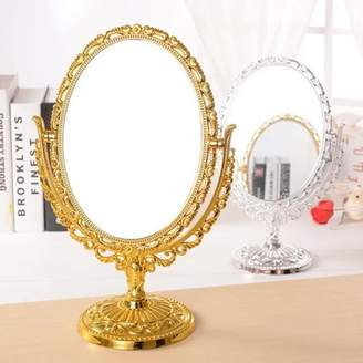 "Online 11.4"" Double Sided Table Top 360 Degree Antique Oval Vintage Desktop Stand Vanity Make Up Mirror"