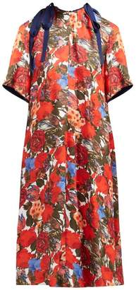 Marni Duncraig Floral Print Cotton Midi Dress - Womens - Red Multi