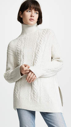 Vince Diagonal Cable Turtleneck