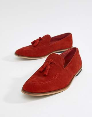 Asos DESIGN loafers in red suede with tassel