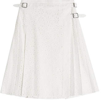 Christopher Kane Cotton Broderie Anglaise Kilt with Leather Buckles