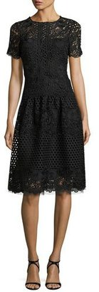 Rickie Freeman for Teri Jon Short-Sleeve Eyelet Lace Cocktail Dress, Black $600 thestylecure.com