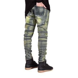 Sunrain Bronze Denim Elastic Jeans Casual Trendy Designed Straight Slim Fit Cool Men Jeans Pant Elastic Long Pants Trousers