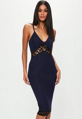 Missguided Navy Strappy Slinky Lace Insert Midi Dress
