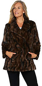 Dennis Basso Woven Drape Collar Faux Fur Coat