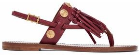 Valentino Garavani Fringe-trimmed Embellished Leather Sandals