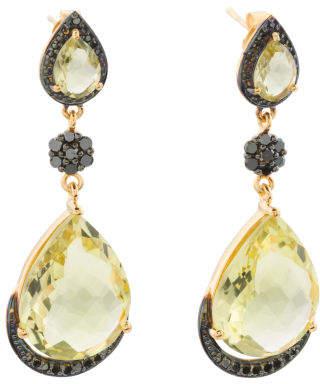 Made In India Sterling Silver Lemon Quartz Diamond Earrings