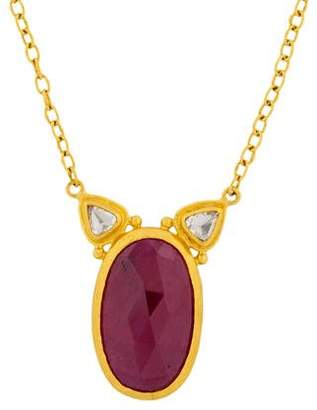 Gurhan 24K Elements Ruby & Diamond Pendant Necklace