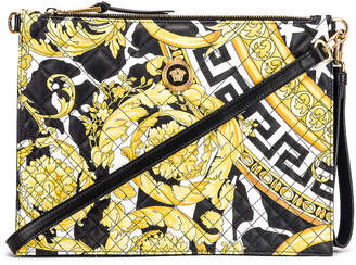 Versace Quilted Icon Pouch Bag in Black & Yellow   FWRD