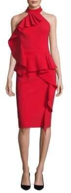 Theia Ruffled Peplum Halter Dress