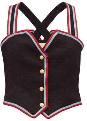 Gucci Web Striped Wool Blend Waistcoat Top - Womens - Black Multi