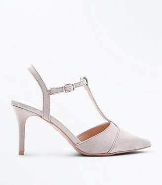 At New Look Grey Comfort Flex Suedette T Bar Pointed Courts