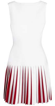 Alaia Pleated Two-tone Knitted Mini Dress