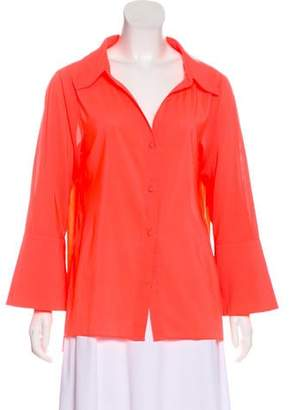 Alice + Olivia Collared Bell Sleeve Button-Up
