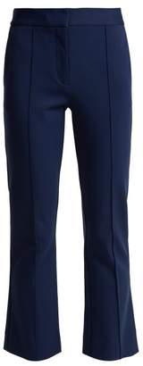 Diane von Furstenberg Mid Rise Flared Cropped Trousers - Womens - Navy