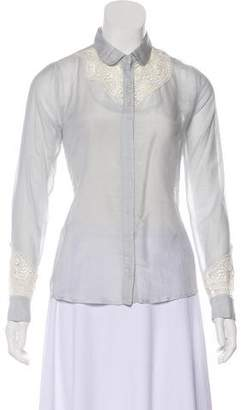 Paul & Joe Lace-Trimmed Button-Up Top w/ Tags